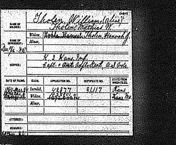 William Tholen's Civil War pension record.